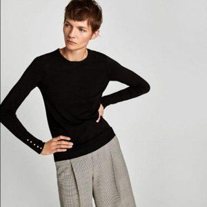 Zara Black Cable Crewneck Sweater Pearl Buttons M